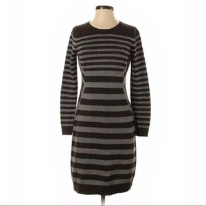Calvin Klein Gray Stripe Sweater Dress